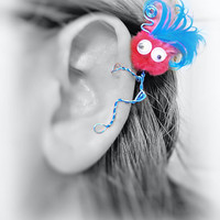 Ear Cuff - Monster, Creature, Critter, Wire Wrap, Feathers, Pompom, Google Eyes, Turquoise, Hot Pink OOAK Jewelry
