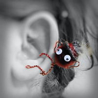 Ear Cuff - Monster, Creature, Critter, Wire Wrap, Pompom, Google Eyes, Maroon Red, Gray, Top Hat, Feather, Big Ears OOAK Jewelry