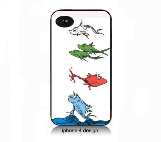 Dr Suess One Fish, Two Fish..  Iphone 4 cell phone accessory case, Iphone case, Iphone 4s case,