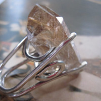 The Big Bling Handmade Sterling and Rutilated Quartz Ring on Etsy Handmade Metal Jewelry