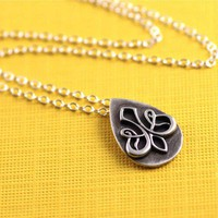 Teardrop Fleur de Lis Necklace in Sterling Silver