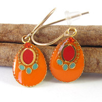 Orange and Red earrings, Gold small dangle Earrings,  resin color, 14K gold filled ,Hyacinth crystal, summer 2012