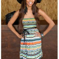 BOHEMIAN STYLE BELTED TUBE DRESS
