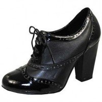 BLACK LACE UP OXFORD BOOTIE @ KiwiLook fashion