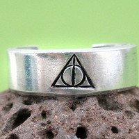 Deathly Hallows Harry Potter Ring - Hand Stamped, Adjustable, Customizable
