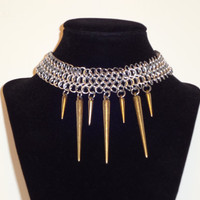 Spikes'N'Chain Chainmaille Choker Necklace