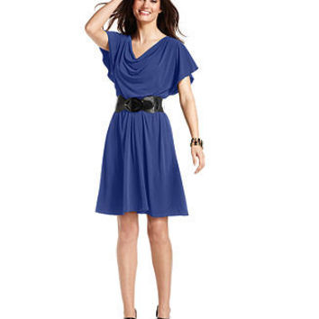 AGB Dress, Flutter-Sleeve Cowl-Neck Belted A-Line - Womens Dresses - Macy's