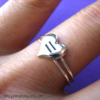 Equal Love Heart ring on double band on 925 sterling silver jewelry - As Engagement ring