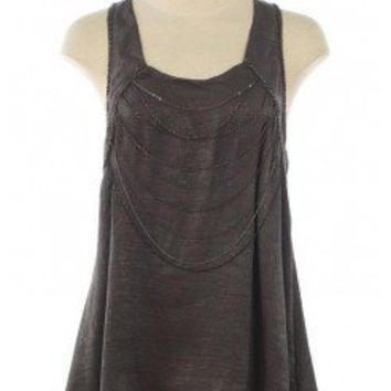 GREY CHAIN EMBELLISHED TANK TOP @ KiwiLook fashion