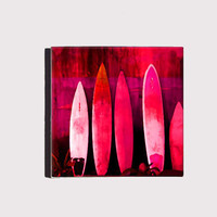 Pink Surf Boards Ocean Side Hang Ten Beach Cottage Decor Art Block Wall Hanging