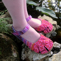 Dahlia in Mixed Pinks - Hmong Embroidery & Batik, Ankle Strap Mary Jane Espadrille