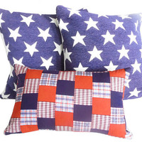 Americana Patchwork Decorative Throw Pillows, Red White Blue Designer Accent Pillow, Toss Cushion Covers for Holiday Decor, Lumbar 12x18