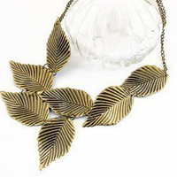 Golden Leaves Statement Necklace | LilyFair Jewelry