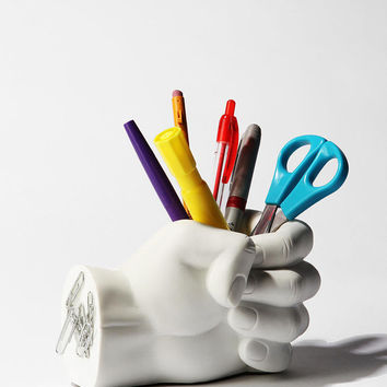 Hand Pen Holder- White One