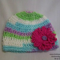 Crochet Little Loop Flower Beanie - Handmade Crochet Hat