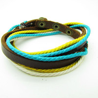 fashion Adjustable leather Cotton Rope Woven Bracelets mens bracelet cool bracelet jewelry bracelet bangle bracelet  cuff bracelet 854S