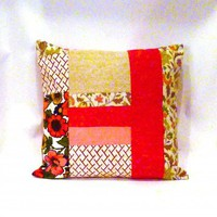 Abstract Floral Retro Patchwork Pillow | Vintage Renewal