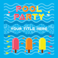 Pool Party Invitation - Fish & Ice Lollies - Card Design - Printable File