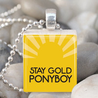 Scrabble Tile Pendant Resin Pendant Stay Gold Ponyboy Pendant Outsiders Necklace With Silver Ball Chain (A963)