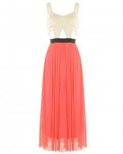 LOVE Cream Scuba Cut Out Bodice With Coral Mesh Skirt  - Love