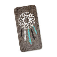 Dreamcatcher Wood iPhone Skin 4S: Cover Sticker for iPhone 4 - Southwest Feather Tribal in Turquoise Brown and White Boho For Him