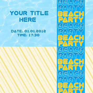 Beach Party Invitation - Water & Sand - Card Design - Printable File