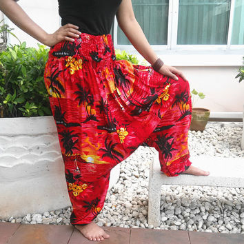 Red Jumpsuit & Pants Aladdin Drop Crotch Yoga Baggy Summer Harem Printed Sarongs Tribal Hippie Rayon pants Gypsy Plus Size Boho Beach