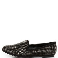 Steve Madden Conncord Black Bejeweled Smoking Slipper Flats - $99.00