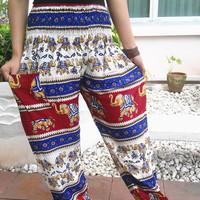 Blue Hippie Pants Elephant Harem Boho Printed Baggy Native Rayon pant Gypsy Dress Clothes Bohemian Henna Paisley Tank Genie Yoga Wide Leg