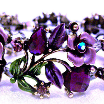 Bracelet Purple Roses Hearts Jewelry Design