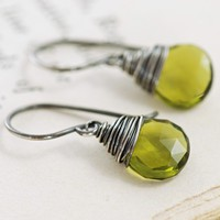 Olive Green Quartz Earrings Wrapped in Sterling Silver, Green Gemstone Earrings Handmade, aubepine
