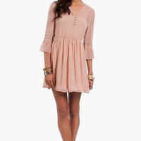 Stitched Pleats Bell Sleeve Dress