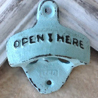 Aqua Bottle Opener - Cast Iron - Vintage - Retro Decor - Metal Wall Decor - Patio - Shabby Chic - Game Room -  Kitchen