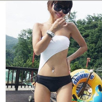 ty2c  White &amp; Black Swim Suit