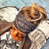 GREY Knitted Headband - Plain Cable Knit Headband - Gray Ear Warmer Headband head bands Hair Coverings Ready to Ship