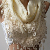 Beige -- Elegance Shawl / Scarf with Lace Edge -Linen- -Soft...