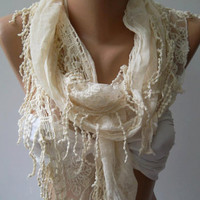 Ivory Beige --- Elegance Shawl // Scarf with Lace Edge,,,