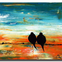 "24x18 Original Modern Texture Impasto Love Birds Painting Landscape Tree Branches Wall Decor ""Love Birds in the Sunset"" one of a kind"