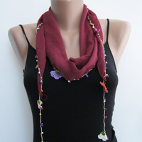 15% SALE Burgundy beaded needle lace scarf, summer scarf