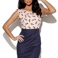 Pink Bird Print Top with Navy High Waist Skirt Dress