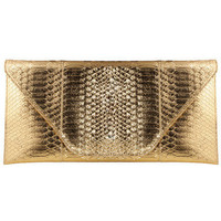Gold Snakeskin Party Clutch