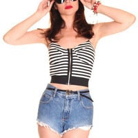 Stripe Cut Out Bustier