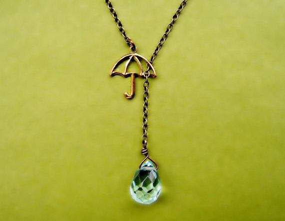 umbrella necklace with glass rain drop