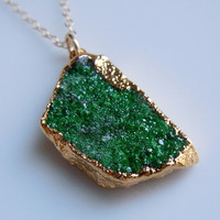 Uvarovite Druzy Necklace, Emerald Green