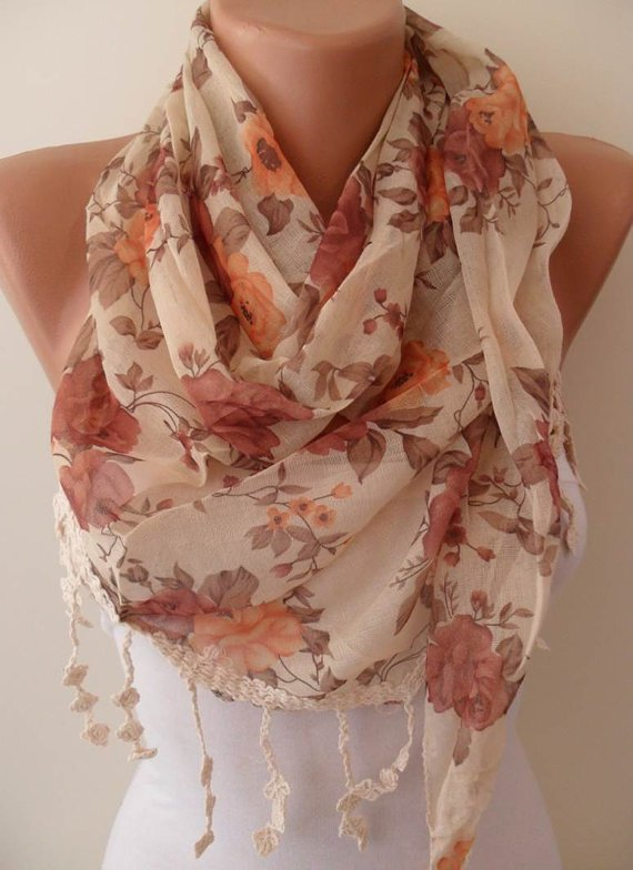 Vintage Style - Linen Scarf - with Beige Trim Edge--NEW