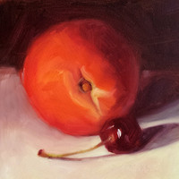 Small Original Oil Painting, 5 x 5, Peachy Cherry