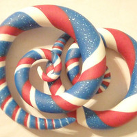 Spangled Spirals. Red White & Blue Spiral Gauged Earrings. Sizes 6g 4g 2g 0g 00g. Available as False Gauge Also.