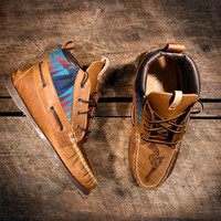 Handcrafted HIGHTOP Leather Boat Shoes - Distressed Tan w/ Teal Pendleton detail &amp; etched pistols - MADE to ORDER