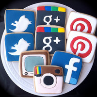 Social Media Addict Decorated Cookies- Icons for facebook, twitter, instagram, pinterest, google plus, youtube