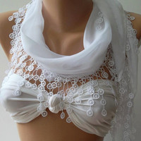 White -  Cotton/  Traditional Turkish fabric -Anatolian Shawl/Scarf